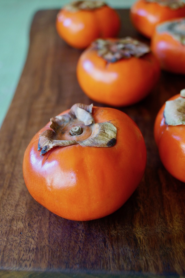 Close up of a Fuyu persimmon.