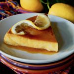 slice of meyer lemon flan on white plate
