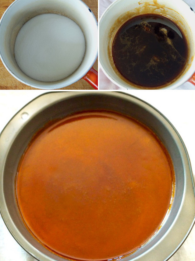 Three images of the process of cooking sugar.