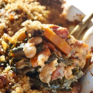 Giant spoonful of Vegetarian Cassoulet with carrots, beans, spinach