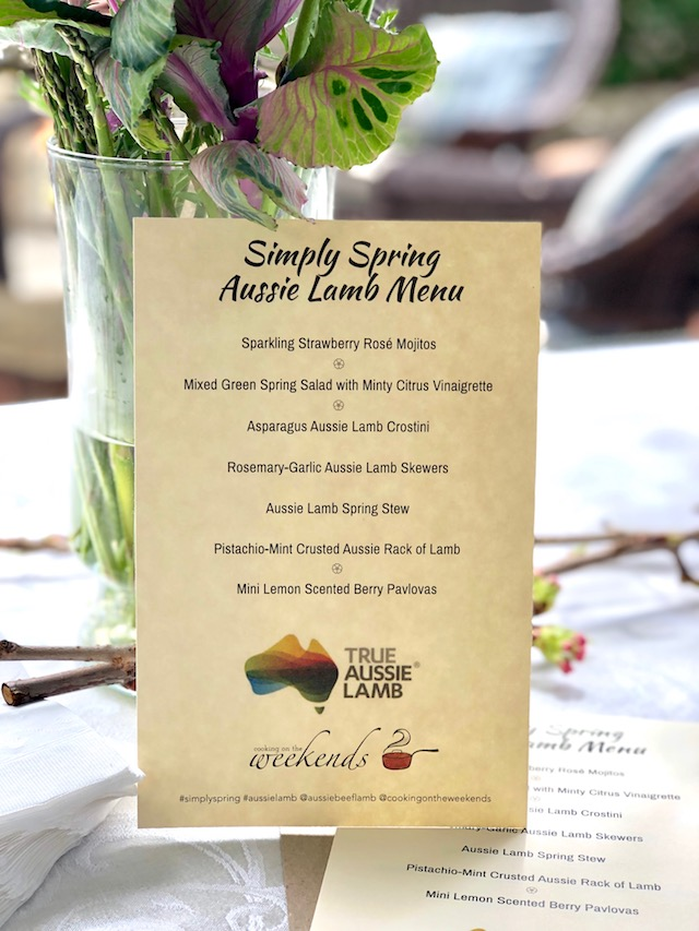 Menu for Aussie Lamb Simply Spring party