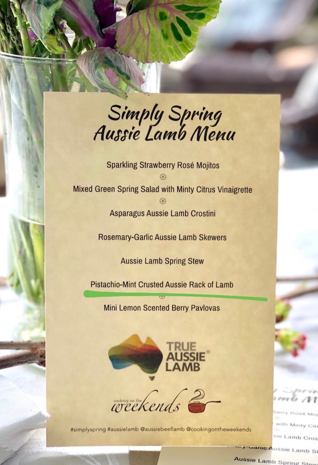 Menu for Aussie Lamb spring party