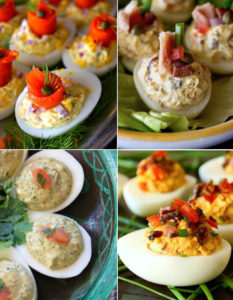 Collage for 4 Unique Deviled Eggs for Easter
