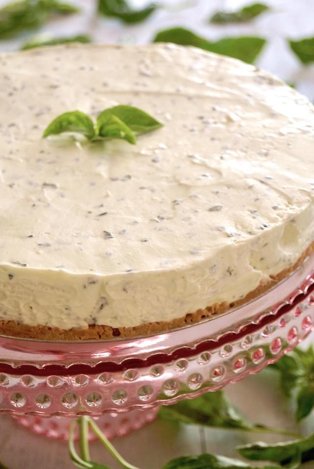 Sweet Basil Cheese Cake on glass pink cake tray