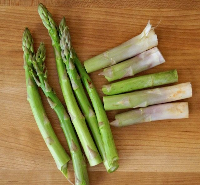 a few asparagus spears with ends snapped off