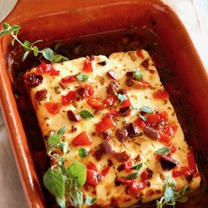 Baked Feta with Olives and Roasted Peppers