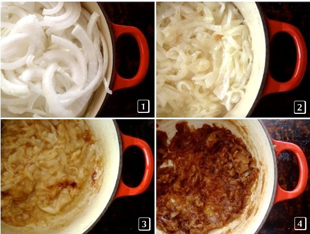 four images of different stages of caramelizeing onions