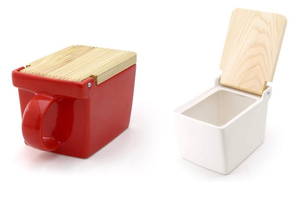 one red and one white japanese salt containers