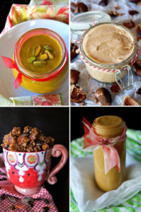 4 images of food gifts including nut butters and dulce de leche