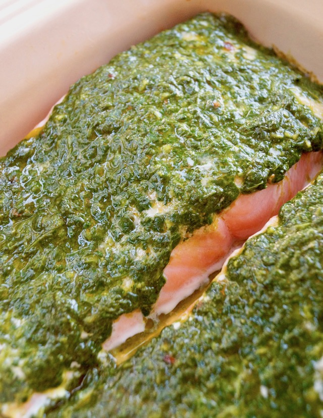 Baked Cilantro Chimichurri Salmon in baking pan