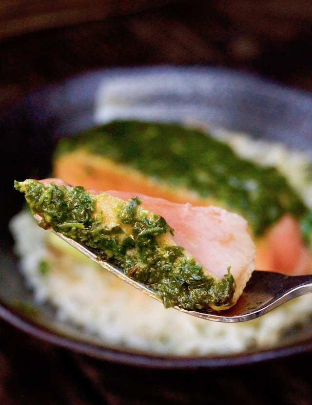 One bite of Chimichurri Salmon on fork