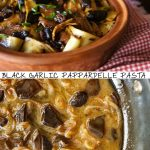 Black garlic sauce in pan and with pasta in terra cotta bowl
