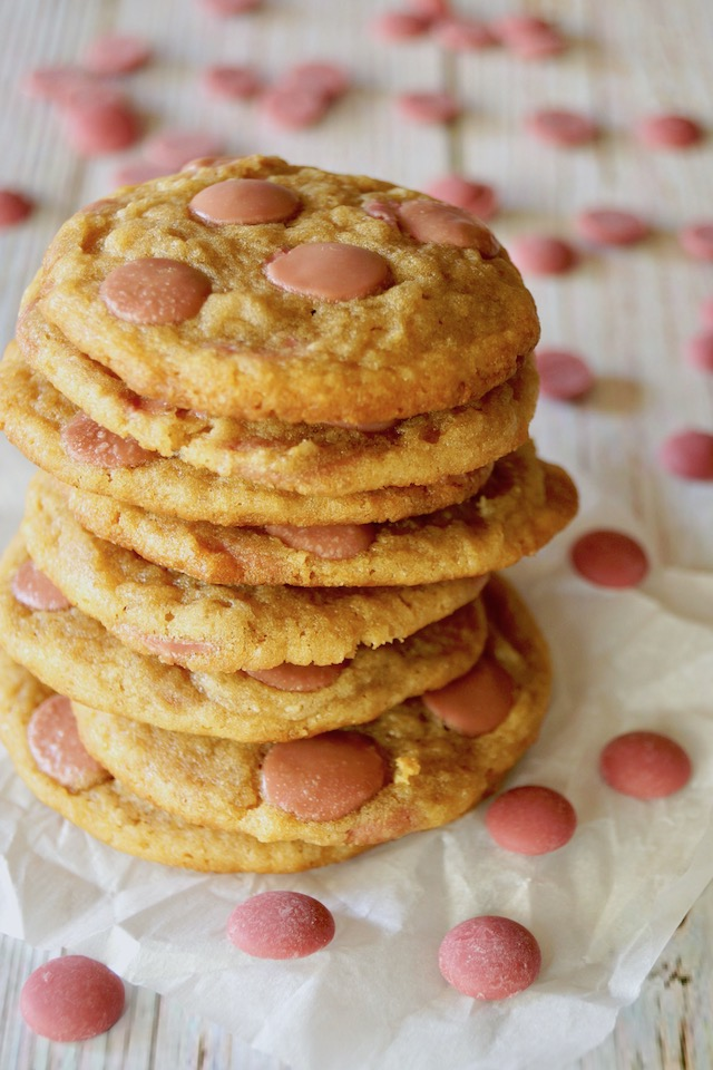tall stack of ruby chocolate chip cookies
