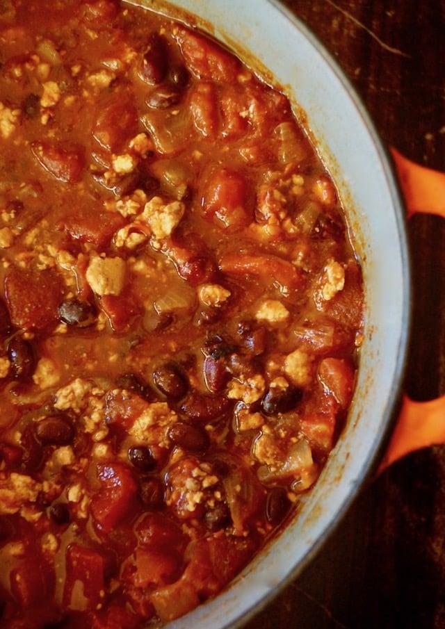 large pot with vegetarian tofu chili