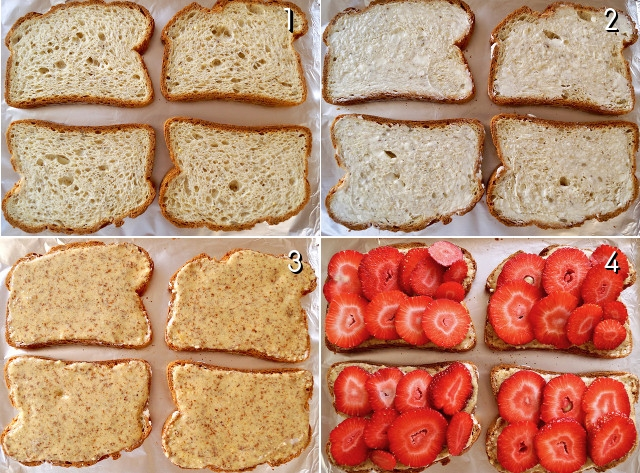 four images of steps to making Frangipane toast with strawberries