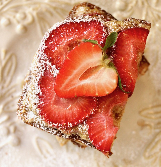 top view of Strawberry Frangipane Toast on white plate