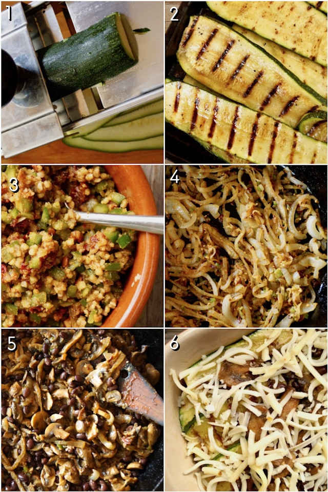 six image grid of steps to make zucchini casserole