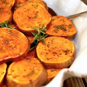 Baked Sweet Potato Slices with Rosemary