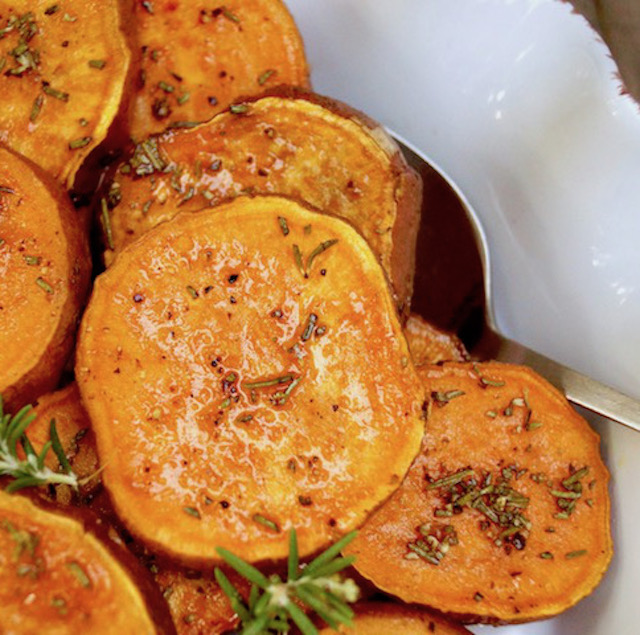 Baked Sweet Potato Slices With Rosemary Cooking On The Weekends