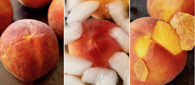 three images of how to peel a peach