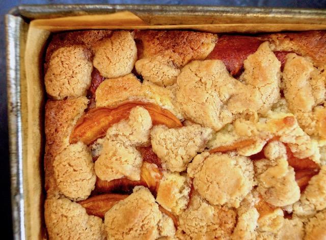 close up of peach cobbler pound cake