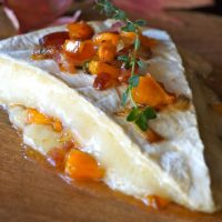 brie with persimmon and bacon