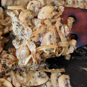 Creamy Mushroom sauce in pan and on spatula