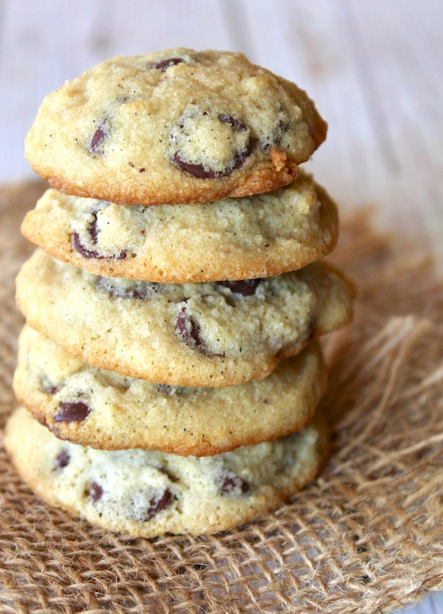 five stacked coconut flour chocolate chip cookies