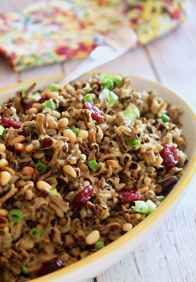 Wild Rice with Cranberries on a yellow-rimmed platter