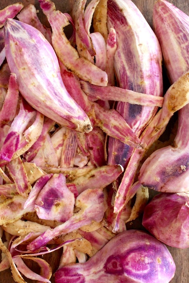 peeled okinawan potatoes with their peels
