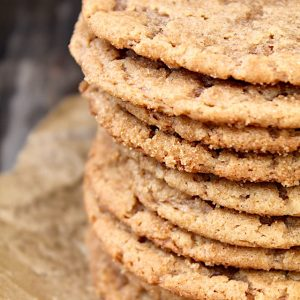 close up of tall stack of peanut butter miso cookies