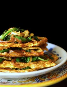 stacked matzo with spinach