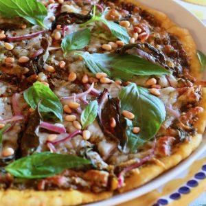 Basil Pizza with Pesto