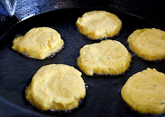 batter for cornbread patties in skillet