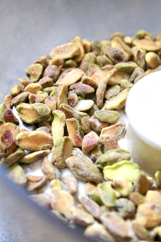 Whole roasted pistachios in food processor
