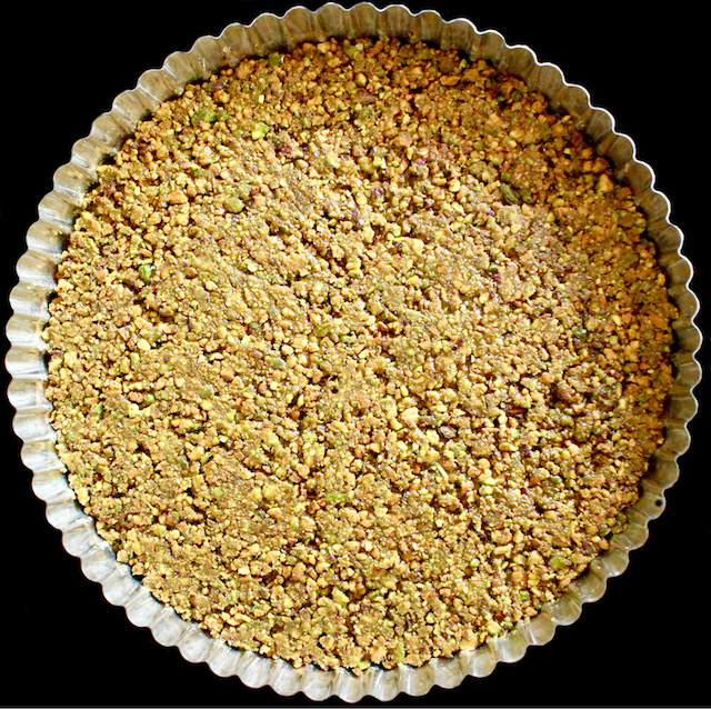 Pistachio Nut crust pressed into tart shell